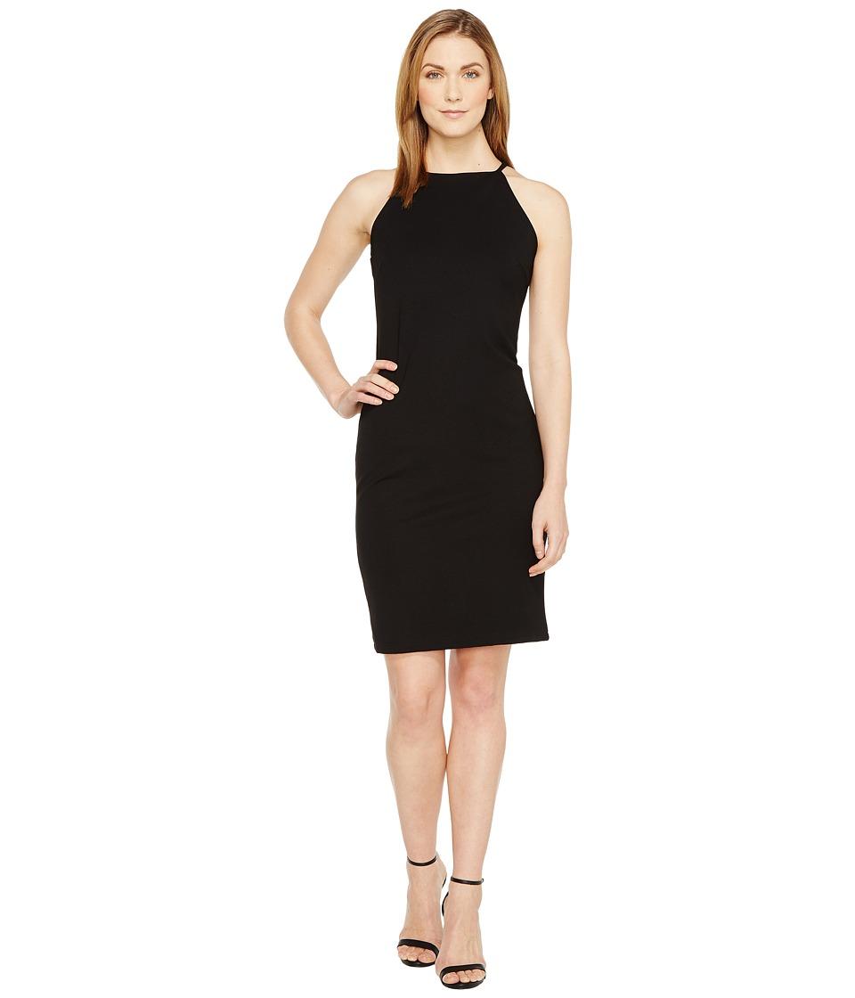 Christin Michaels Sigrid High Neck Spaghetti Strap Dress (Black) Women