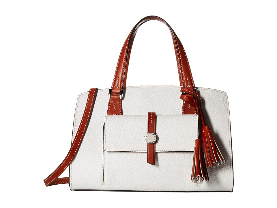 Dooney & Bourke - Cambridge Satchel (White/Tan Trim) Satchel Handbags