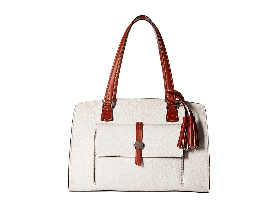 Dooney & Bourke - Cambridge Shoulder Bag (White/Tan Trim) Shoulder Handbags