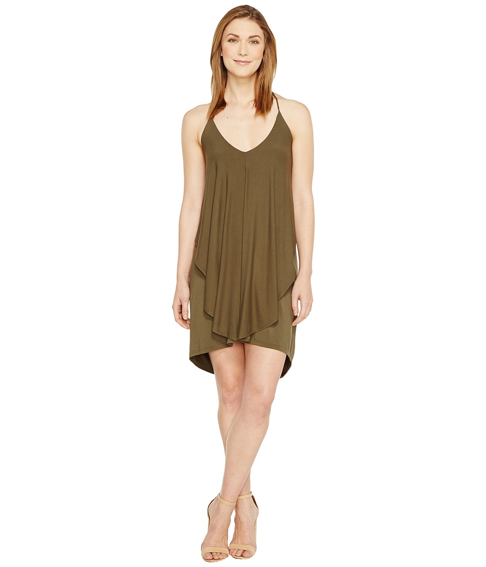 Culture Phit Dalmar Spaghetti Strap Ruffle Dress (Olive) Women