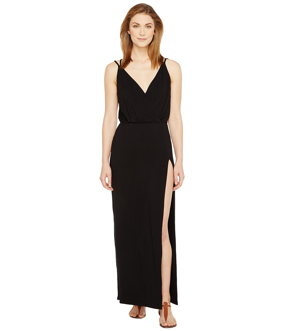 Culture Phit - Elea Spaghetti Strap Maxi Dress with Side Slit (Black) Women's Dress