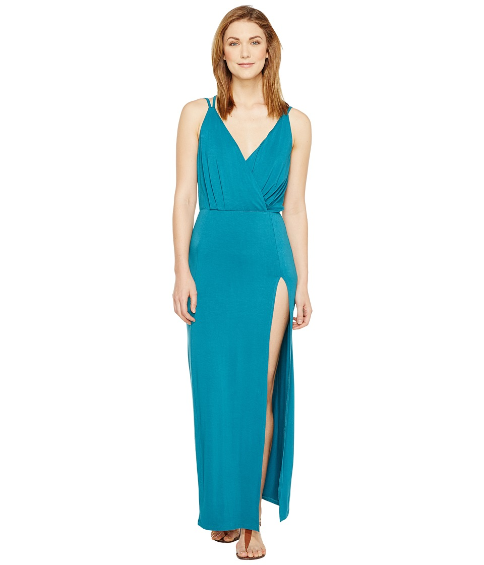 Culture Phit - Elea Spaghetti Strap Maxi Dress with Side Slit (Teal) Women's Dress