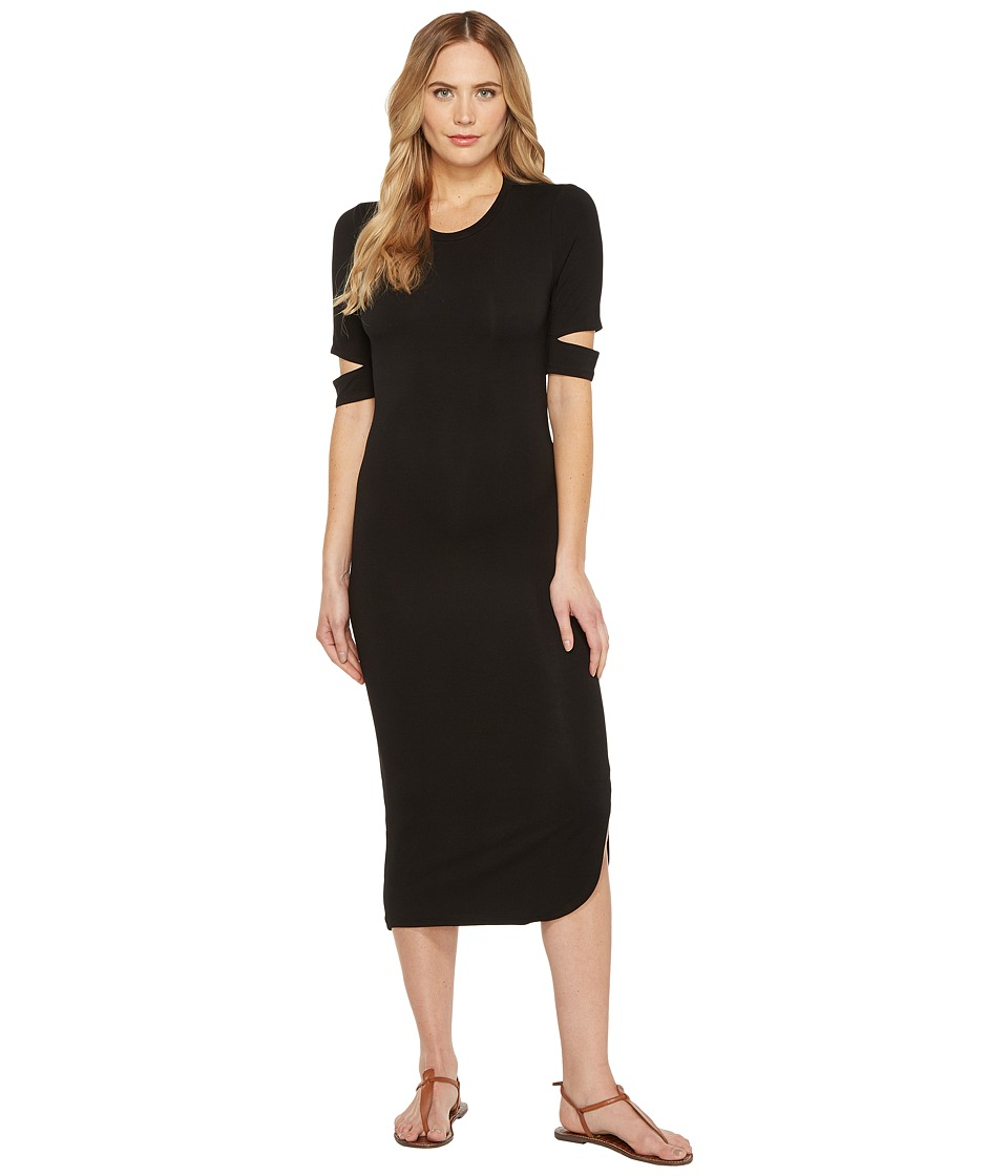 Culture Phit - Quinn Luxe French Terry Midi Dress with Sleeve Cut Outs (Black) Women's Dress
