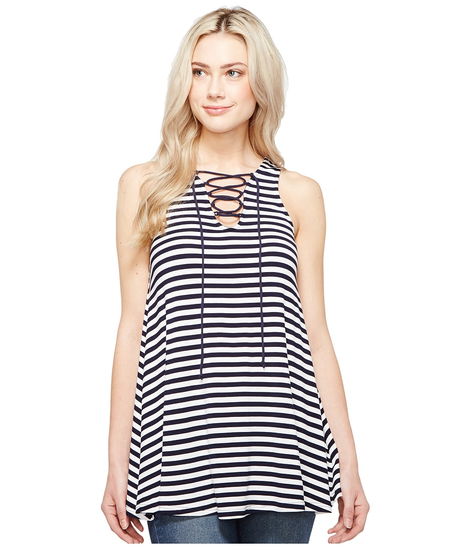 Culture Phit - Elodie Sleeveless Crossed Tunic (Navy/White) Women's Sleeveless
