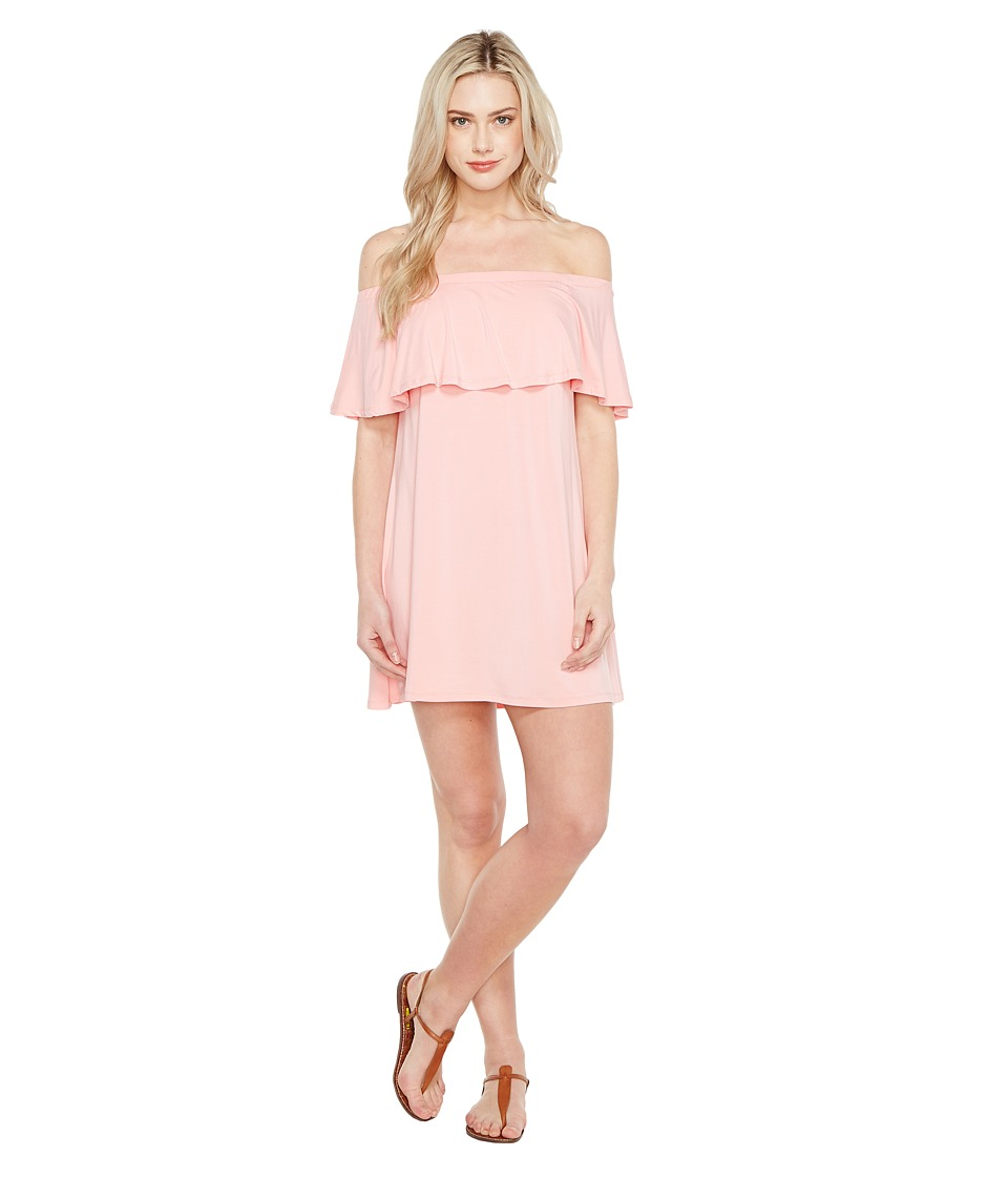 Culture Phit - Summer Off the Shoulder Ruffle Dress (Pink) Women's Dress