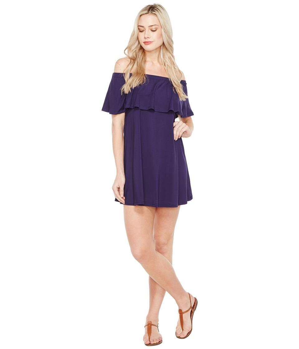 Culture Phit - Summer Off the Shoulder Ruffle Dress (Navy) Women's Dress