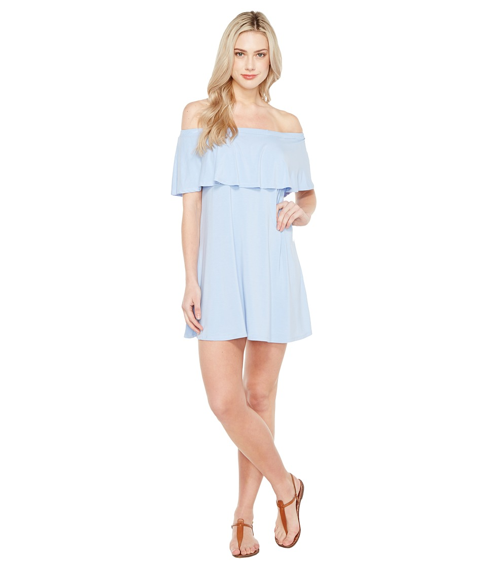 Culture Phit - Summer Off the Shoulder Ruffle Dress (Light Blue) Women's Dress