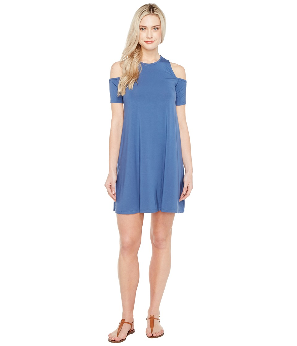 Culture Phit Aleta Cold Shoulder Dress (Blue) Women