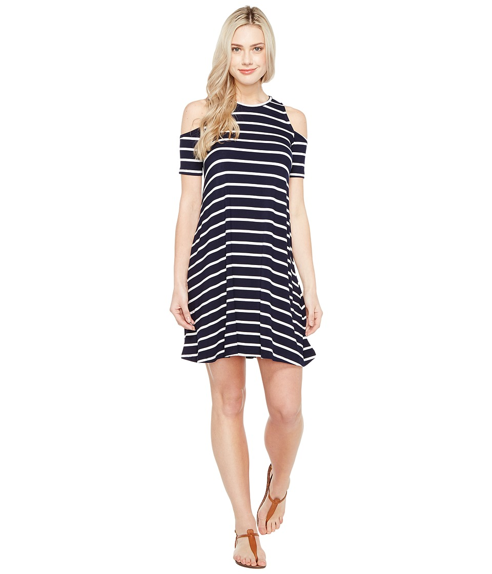 Culture Phit Aleta Cold Shoulder Dress (Navy/White) Women