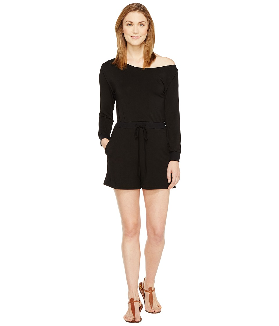 Culture Phit - Camella Luxe French Terry Off the Shoulder Romper (Black) Women's Jumpsuit & Rompers One Piece
