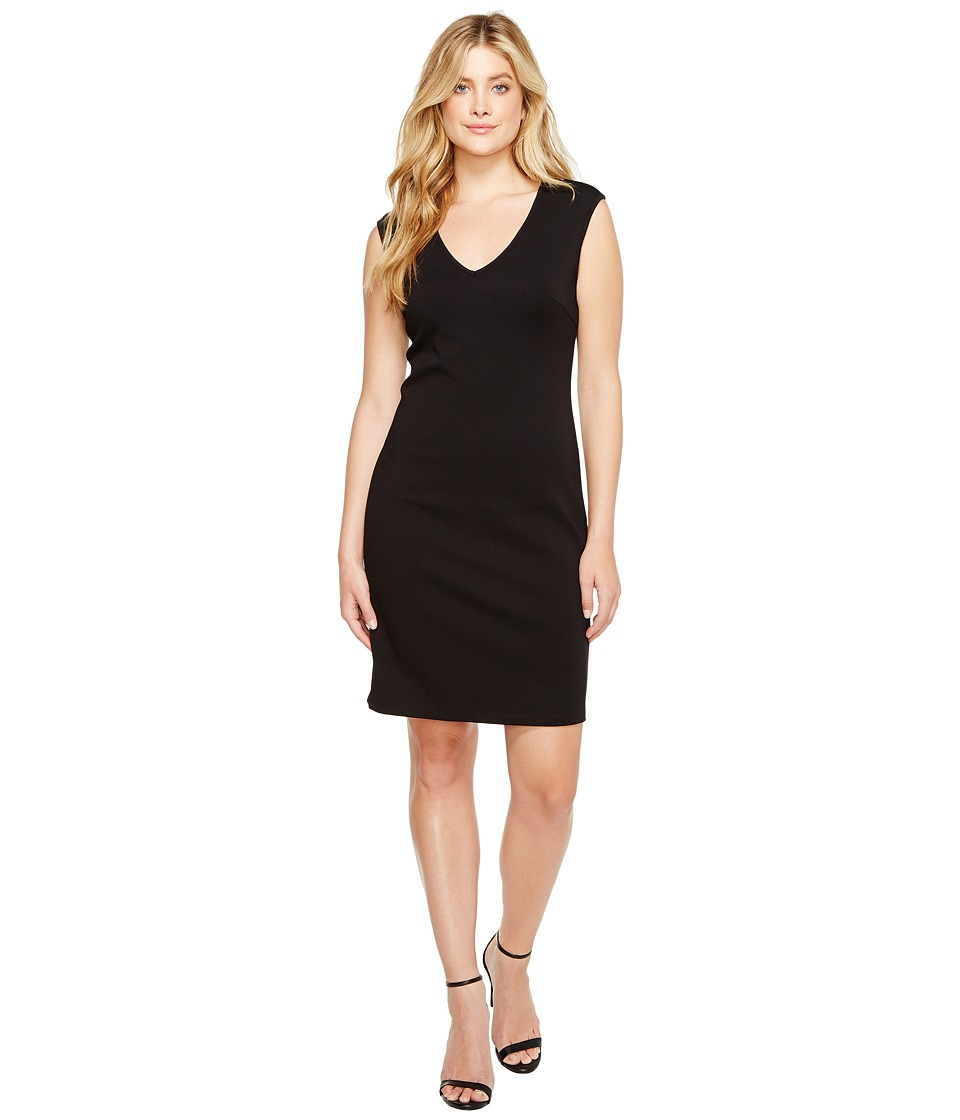 Christin Michaels Leena V-Neck Bodycon Dress (Black) Women