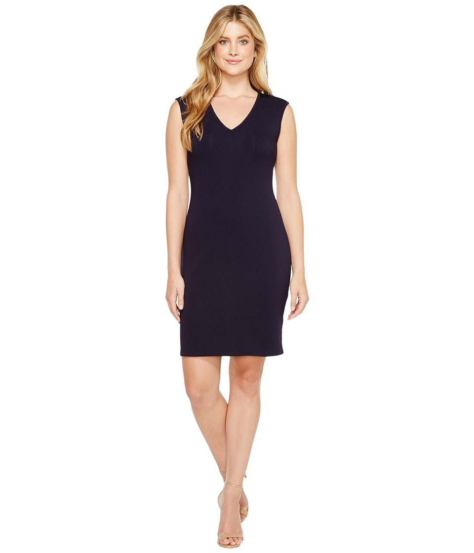 Christin Michaels - Leena V-Neck Bodycon Dress (Navy) Women's Dress