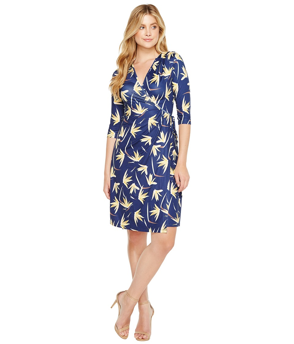 Christin Michaels - Khana 3/4 Sleeve Wrap Dress (Navy/Yellow) Women's Dress