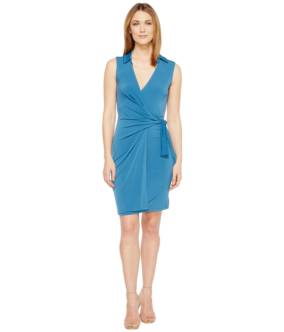 Christin Michaels Gracy Sleeveless Wrap Dress with Collar (Blue) Women