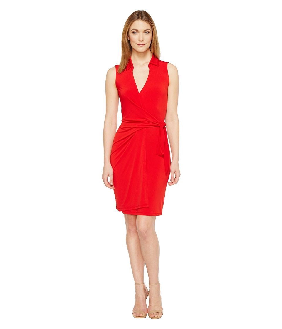 Christin Michaels Gracy Sleeveless Wrap Dress with Collar (Red) Women