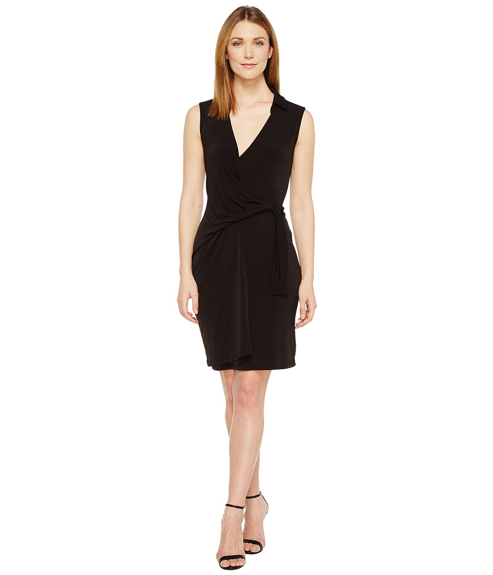 Christin Michaels Gracy Sleeveless Wrap Dress with Collar (Black) Women