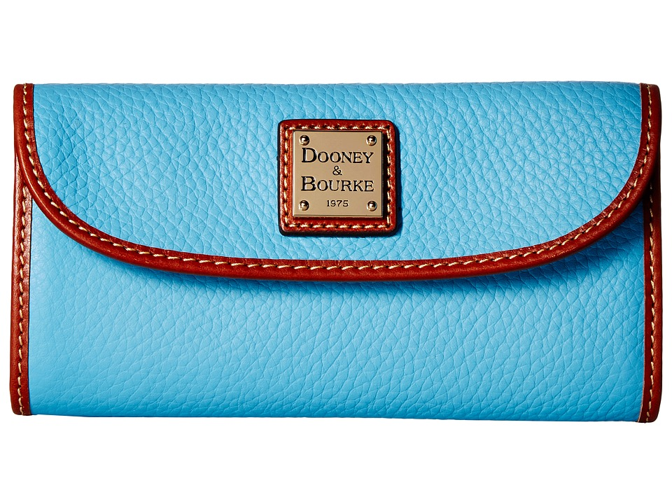Dooney & Bourke - Pebble Continental Clutch (Light Blue/Tan Trim) Clutch Handbags