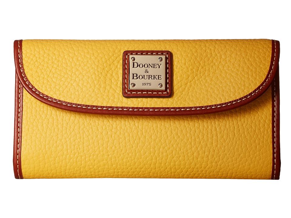 Dooney & Bourke - Pebble Continental Clutch (Dandelion/Tan Trim) Clutch Handbags