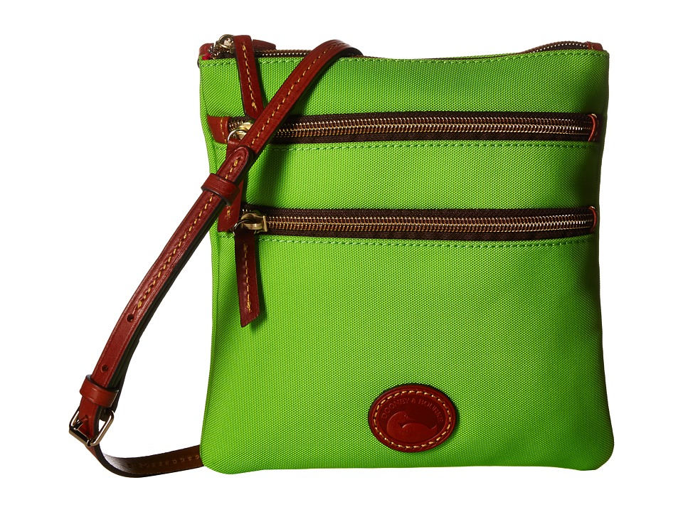 Dooney & Bourke - Nylon North/South Triple Zip (Apple Green/Tan Trim) Cross Body Handbags