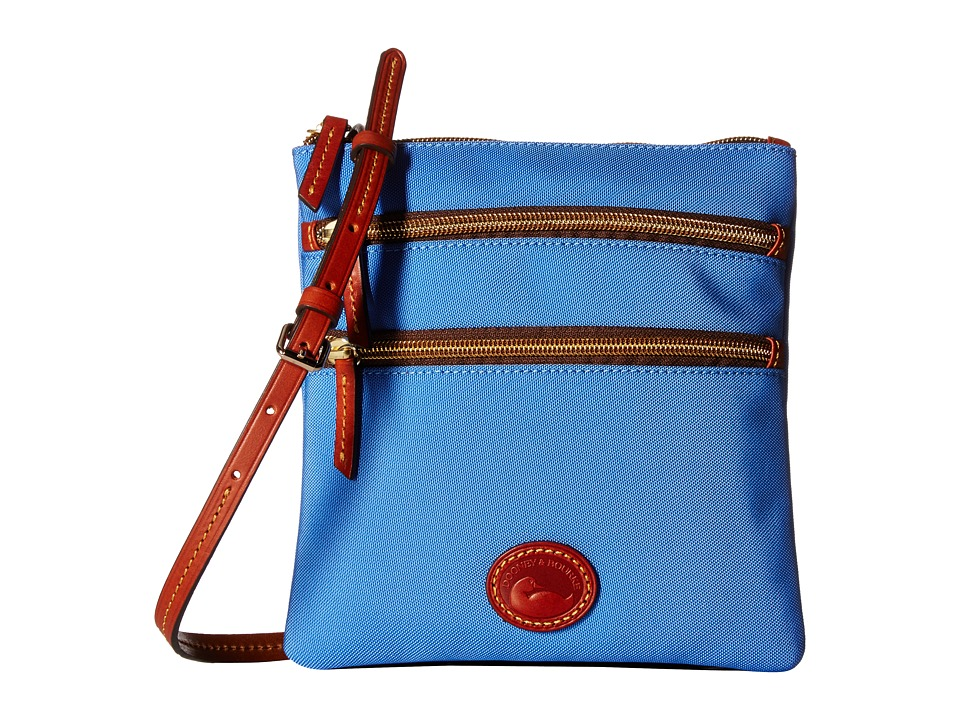 Dooney & Bourke - Nylon North/South Triple Zip (French Blue/Tan Trim) Cross Body Handbags