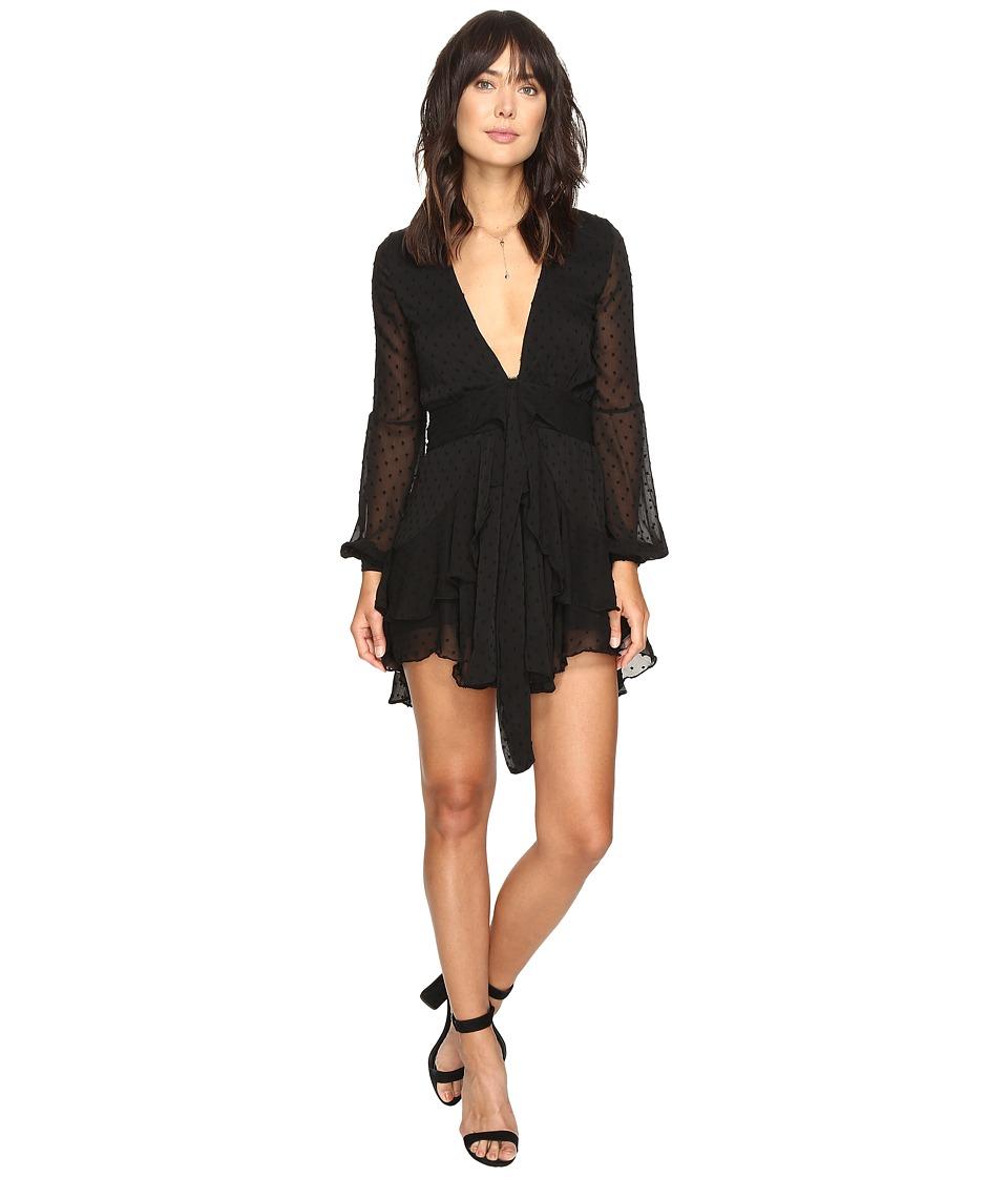 For Love and Lemons - Tarta Long Sleeve Mini Dress (Noir Dot) Women's Dress
