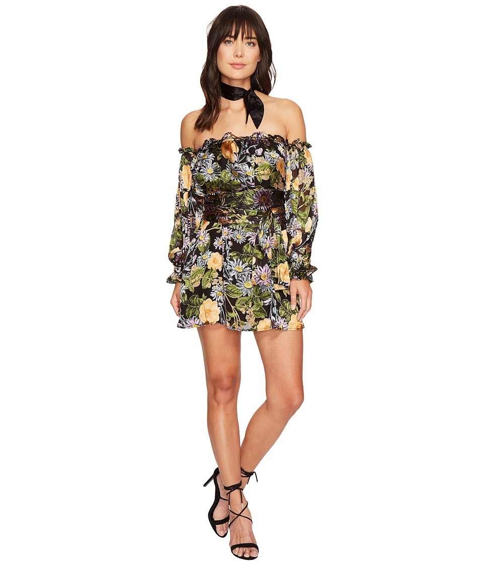For Love and Lemons - Luciana Strapless Dress (Black Floral) Women's Dress