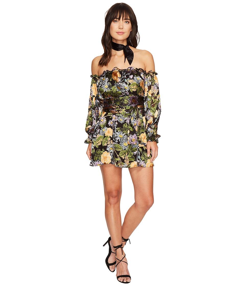 For Love and Lemons - Luciana Strapless Dress (Black Floral) Women's Dress