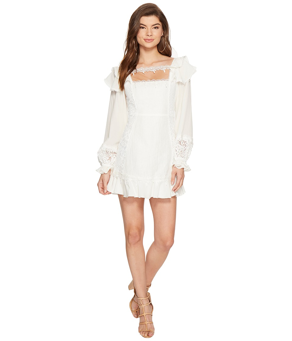 For Love and Lemons Crema Silk Linen Dress (White) Women
