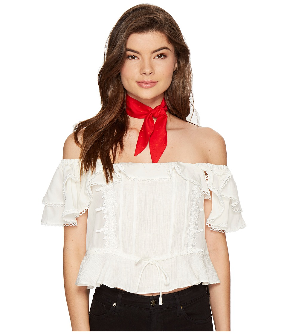 For Love and Lemons - Crema Silk Blouse (White) Women's Blouse