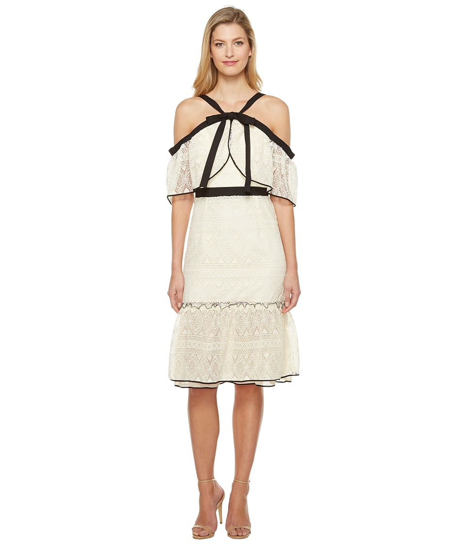 Adelyn Rae - Marissa Woven Lace Off the Shoulder Dress (Ivory/Black) Women's Dress