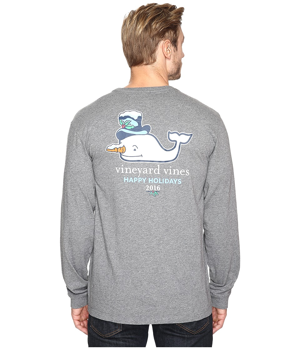 Vineyard Vines - Long Sleeve Snowman Whale Pocket T-Shirt (Dark Gray Heather) Men's T Shirt