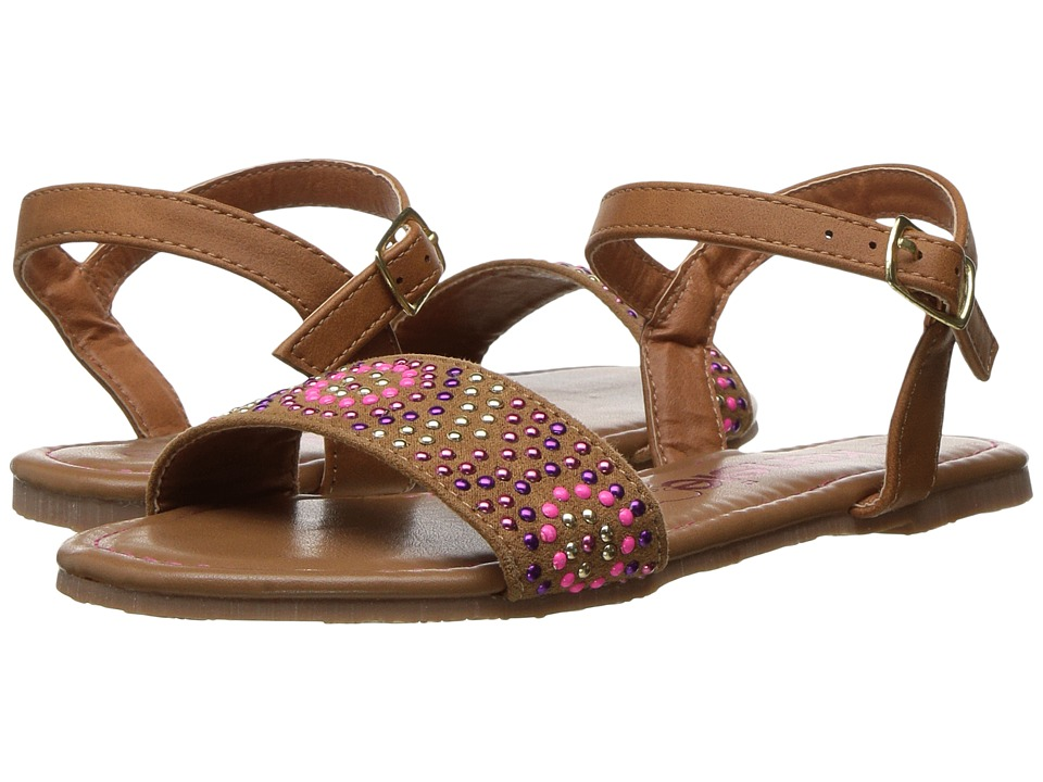 kensie girl Kids - Beaded Single Band Sandal (Little Kid/Big Kid) (Brown) Girls Shoes