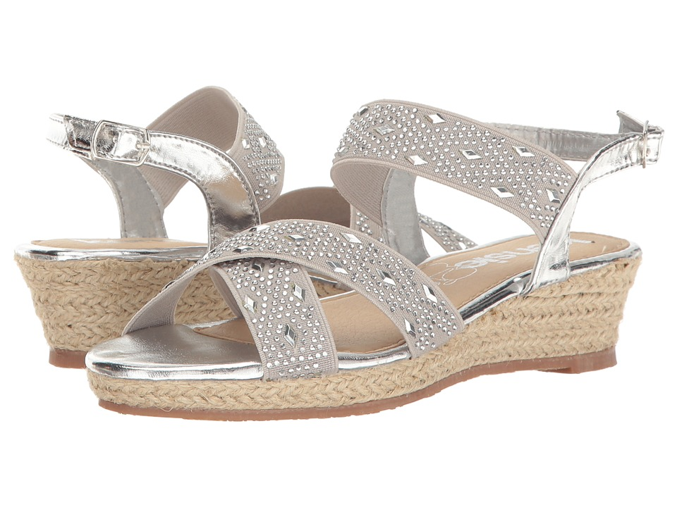 kensie girl Kids - Embellished Wedge Sandal (Little Kid/Big Kid) (Silver) Girls Shoes