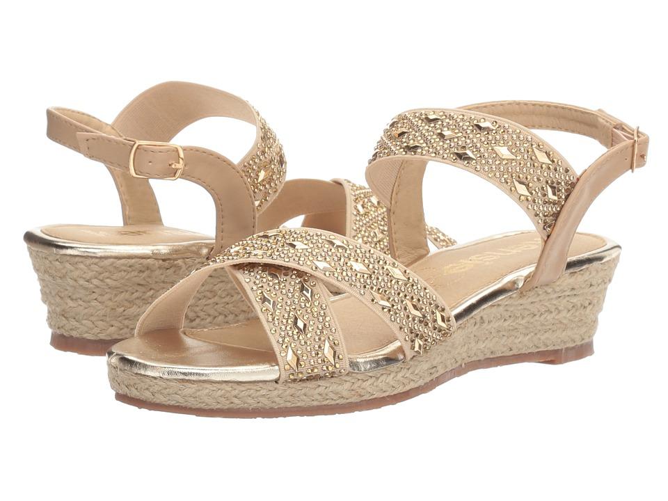 kensie girl Kids Embellished Wedge Sandal (Little Kid/Big Kid) (Beige) Girls Shoes