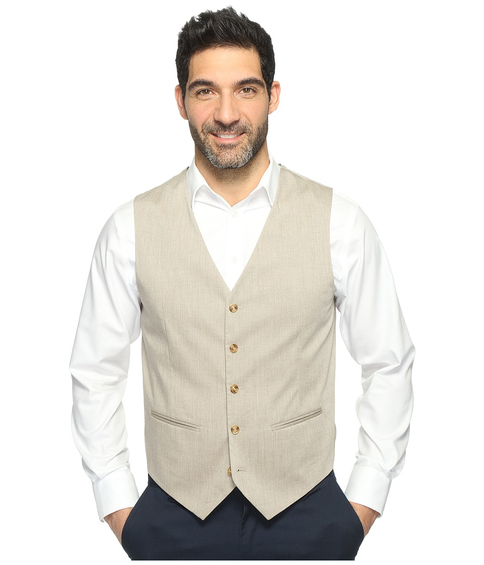 Perry Ellis - Regular Fit Stretch Heather Twill Suit Vest (Natural Linen) Men's Vest