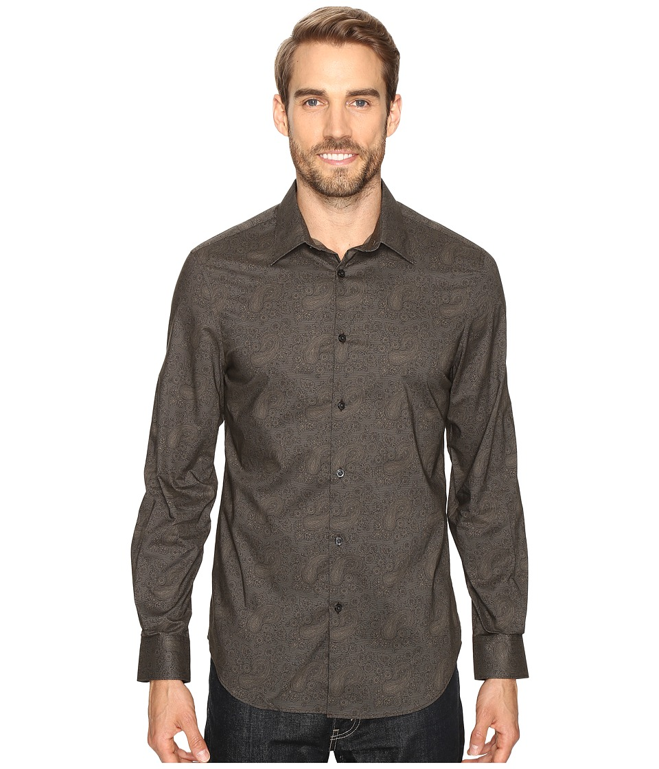 Perry Ellis - Fine Printed Paisley Shirt (Major Brown) Men's Clothing