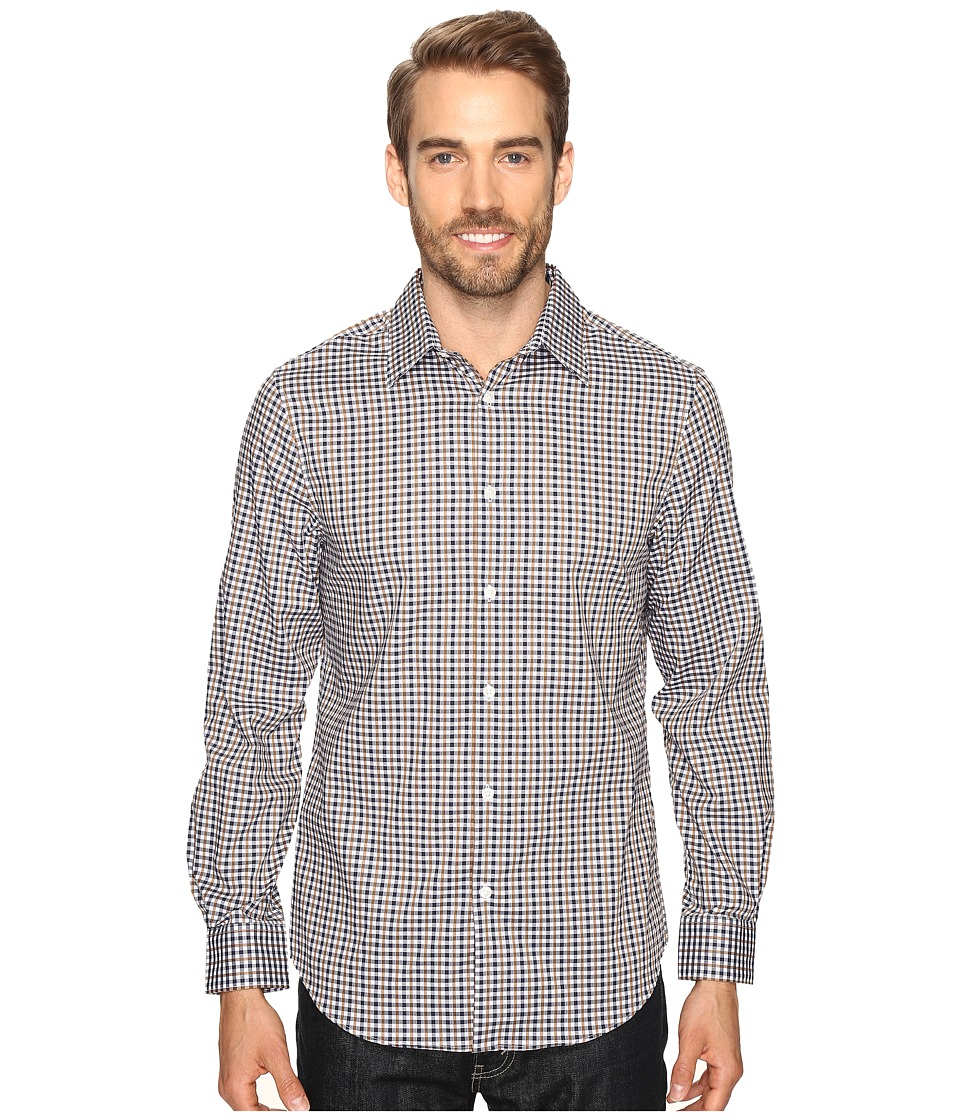 Perry Ellis - Checkered Dobby Shirt (Otter) Men's Clothing