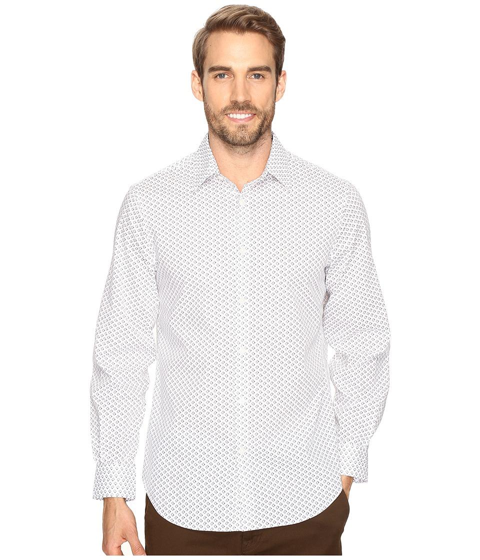 Perry Ellis - Stretch Geometric Rectangle Shirt (Bright White) Men's Clothing