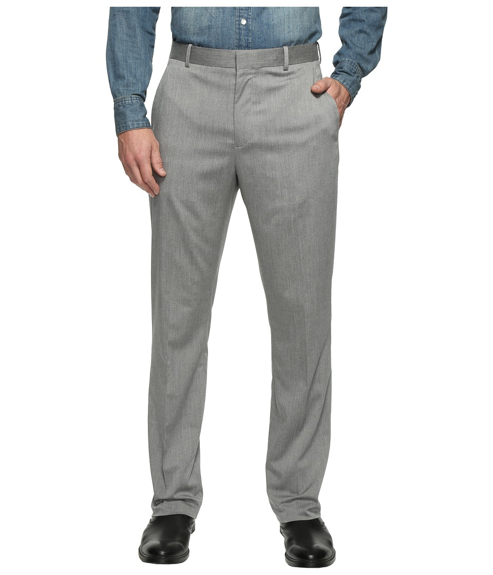 Perry Ellis - Regular Fit Stretch Heather Twill Dress Pants (Brushed Nickel) Men's Dress Pants