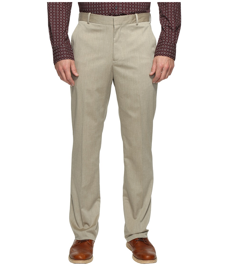 Perry Ellis - Regular Fit Stretch Heather Twill Dress Pants (Natural Linen) Men's Dress Pants