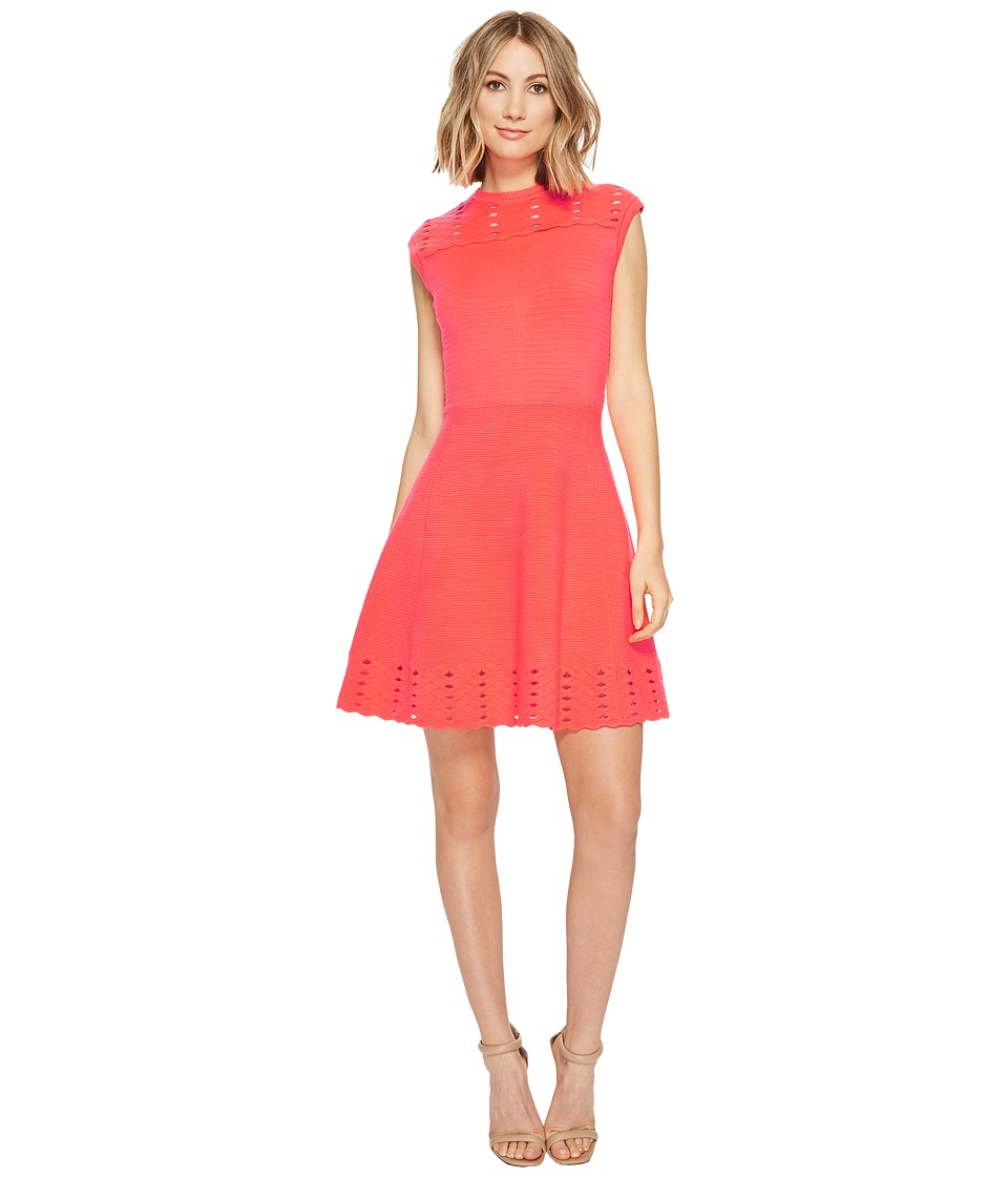 Ted Baker - Zaralie Jacquard Panel Skater Dress (Mid Orange) Women's Dress