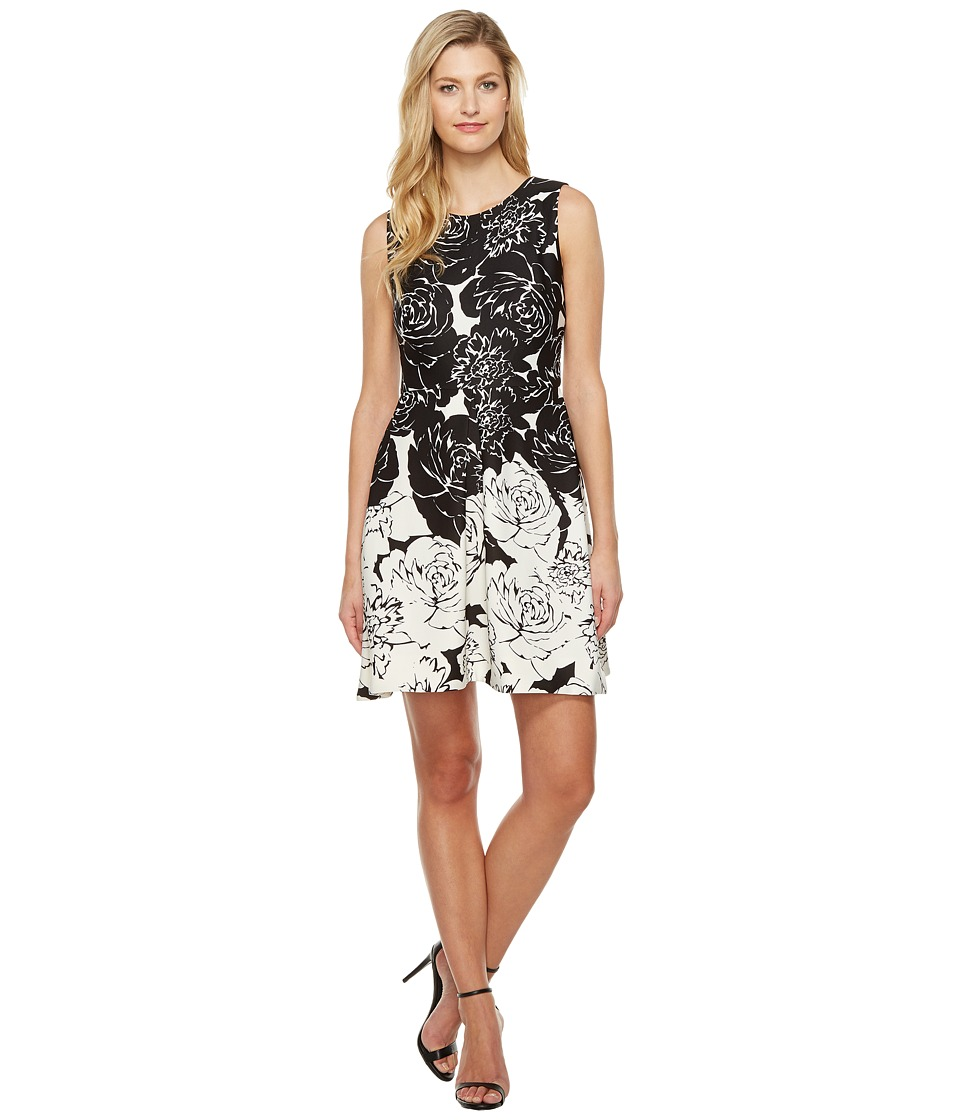 Taylor - Scuba Fit Flare Dress (Black/White) Women's Dress