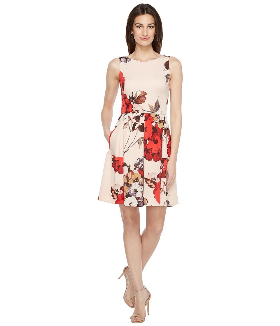 Taylor - Scuba Fit Flare Dress (Peach Multi) Women's Dress