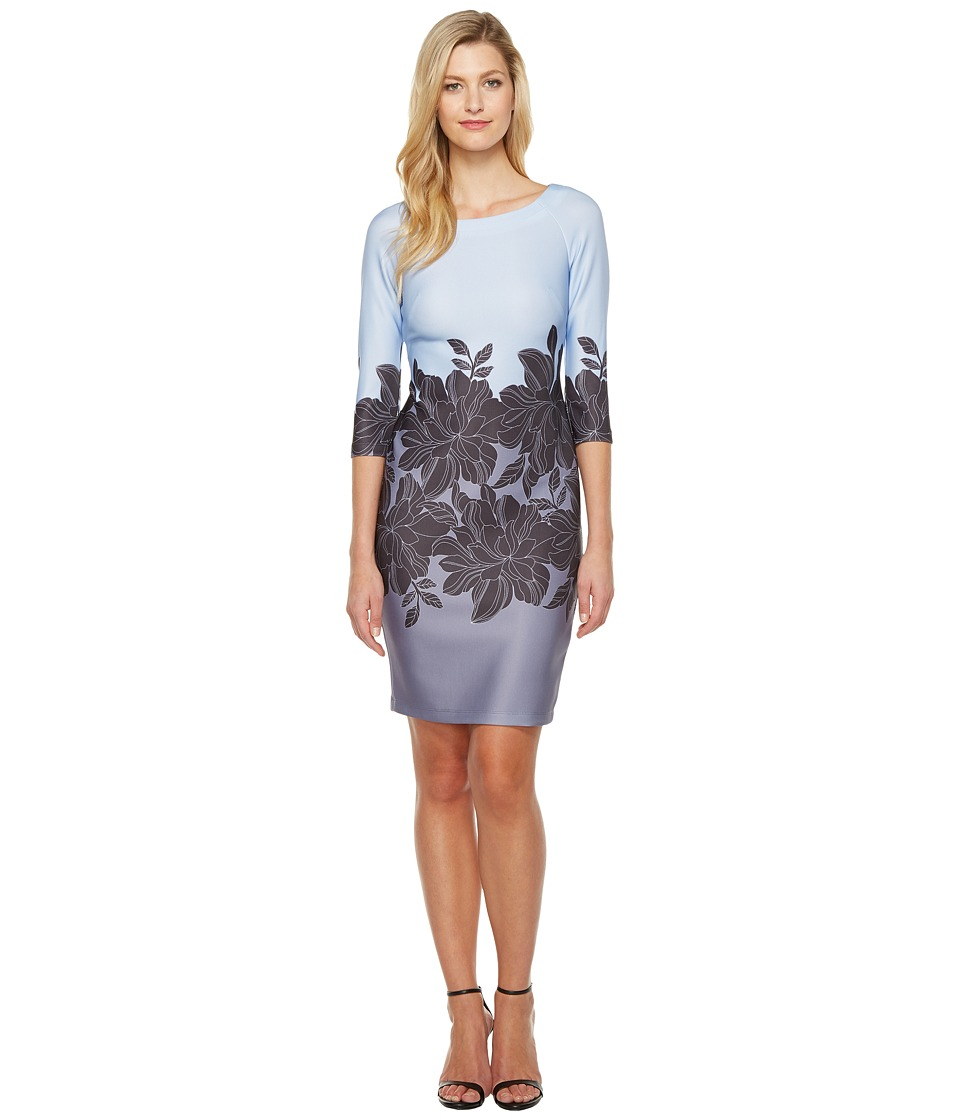 Taylor - Scuba Fit Flare Dress (Sky Blue/Grey) Women's Dress