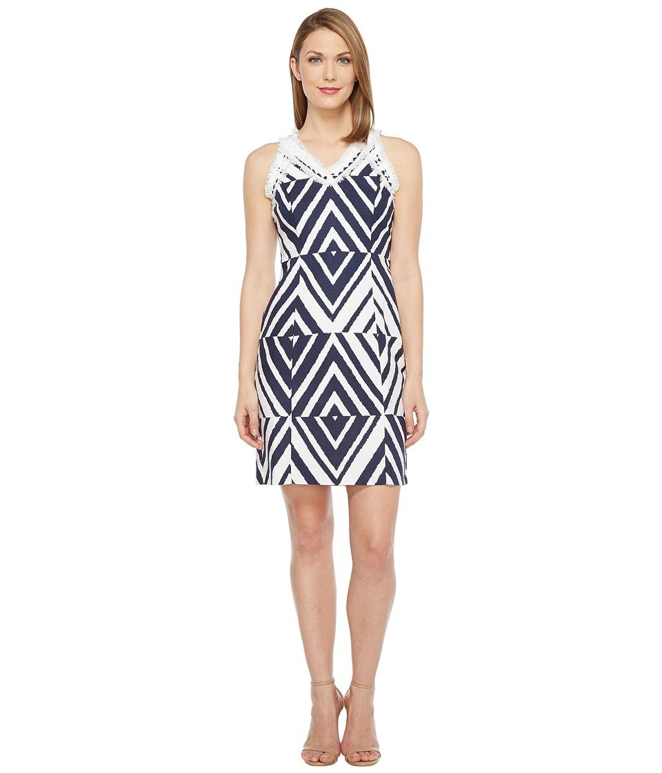 Taylor - Cotton Jacquard Dress (Navy/Ivory) Women's Dress