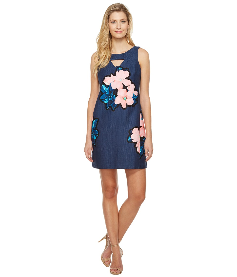 Taylor - Hopsack Dress (Navy/Pink) Women's Dress