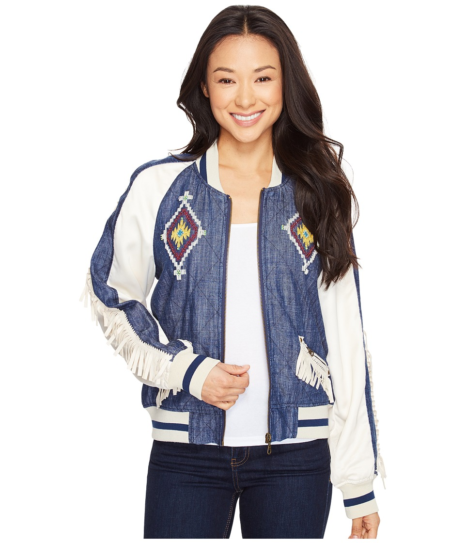 Double D Ranchwear - Indian Head Souvenir Jacket (Denim) Women's Coat
