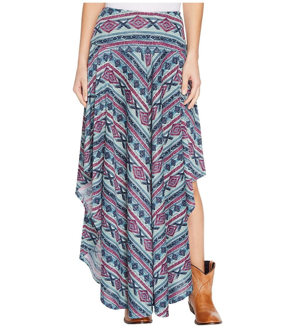Double D Ranchwear - Butterfly Bleu Long Skirt (Multi) Women's Skirt