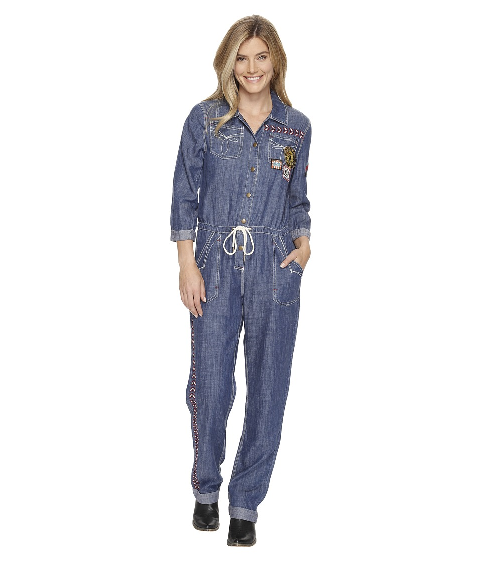 Double D Ranchwear - Chief Five Thunder Boilersuit (Denim) Women's Jumpsuit & Rompers One Piece