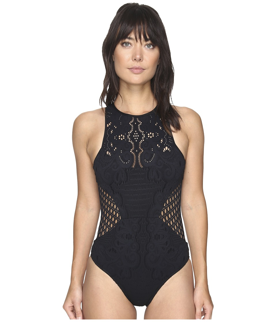JETS by Jessika Allen - Inspired High Neck One-Piece (Black) Women's Swimsuits One Piece